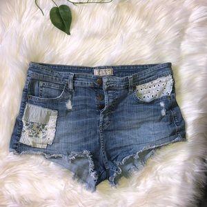Guess high waist jean shorts